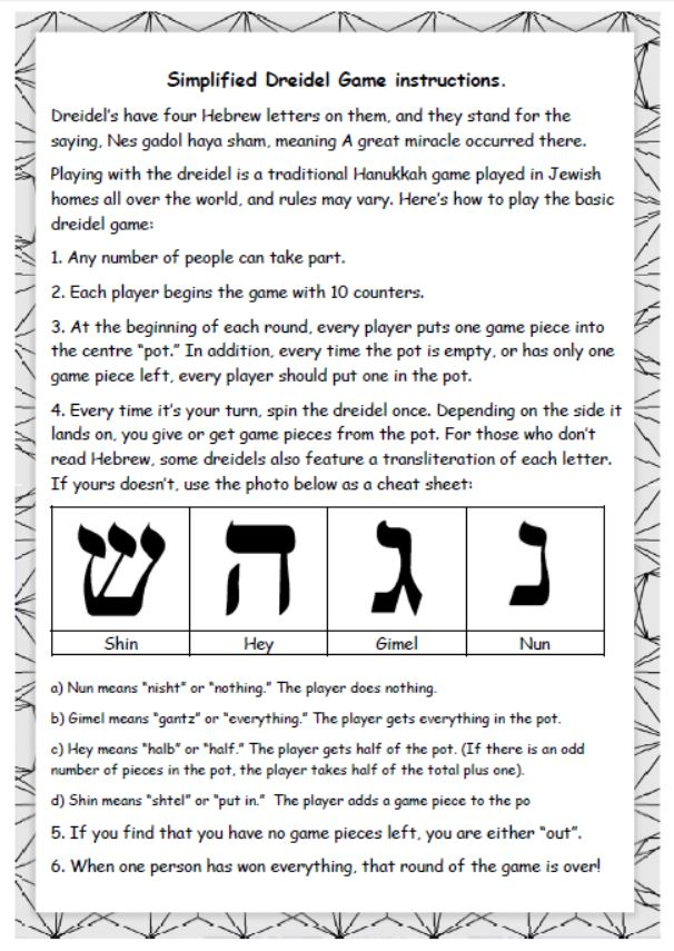 photograph relating to How to Play the Dreidel Game Printable named Dreidel Activity guidelines MontessoriSoul